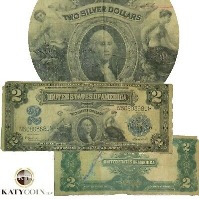 1899 $2 Two Dollar FR 258 Silver Certificate LARGE Note US Paper Bill 20034F