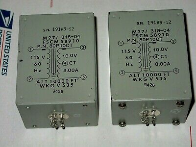 2 Pieces Nos Abbott P.n.80P10Ct (10V Ct. 8A) Filament Transformers (Brand New)