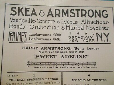 Early 1900's  - SKEA & ARMSTRONG - Agents for Entertainers - Broadway, N.Y.