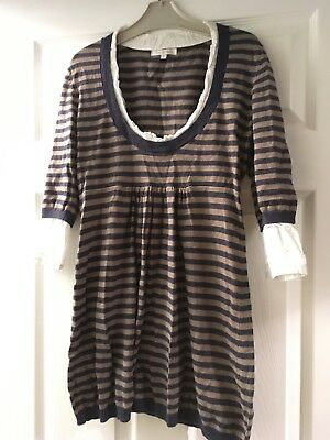 Stripy Mamas And Papas Maternity Jumper Attached Blouse Size 6, Would Fit Size 8