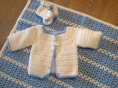 Baby Newborn Hand Made Knit Crochet New Sweater, Cap Hat and Blanket Blue/White