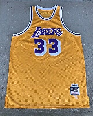 8a56e9449 Mitchell Ness Lakers Jersey Abdul-Jabbar 33 1979-80 Throwback Yellow Size  3XL