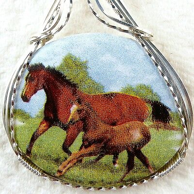 Horse Porcelain Cameo Pendant .925 Sterling Silver Animal Jewelry Brown