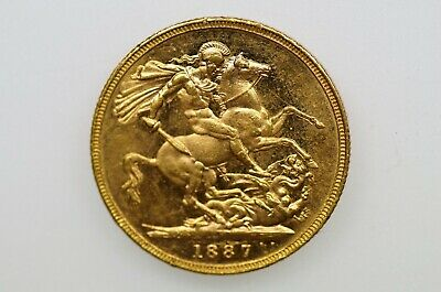 1887 Melbourne Mint Gold Full Sovereign in Almost EF Condition