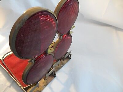 2 Vintage Vari Flare Model G Chicago USA Made Red Reflector Lenses & Flags