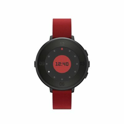 Pebble Time Round RARE GREAT CONDITION 14mm Smartwatch Apple/Android Black/Red