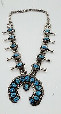 "Vintage Sterling Turquoise Squash Blossom Necklace 6.2 OZ Beautiful 15"" Long W@W"