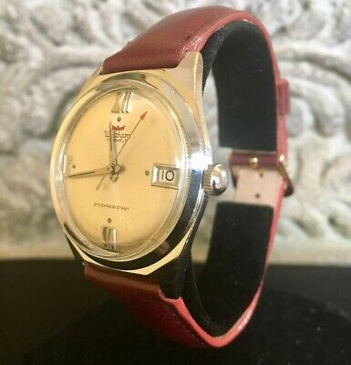 1960's SWISS MADE Waltham Red Arrow Wind Up Date Watch Serviced Stainless Nice