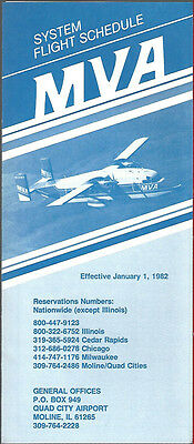 MVA Mississippi Valley Airlines system timetable 4//24//83 Buy 2 Get 1 Free 6113