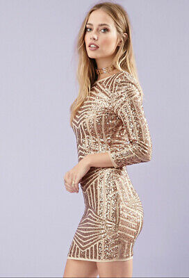 d52c8aa96 NWT Forever 21 GORGEOUS SEXY Rose Gold Sequin 3/4 Sleeve Cocktail Dress  BCBG L