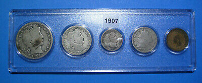 1907 US Coin Year Set 5 Coins 90% Silver