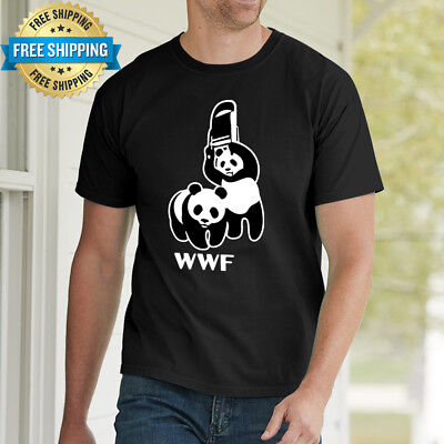 Men New Hot 100% Cotton T-shirt Cool Funny Humor WWF Panda Logo Fashion Tee