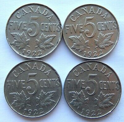 "1922 Canada 5 Cent Coin  ""Lot of 4 Coins"" SB5931"