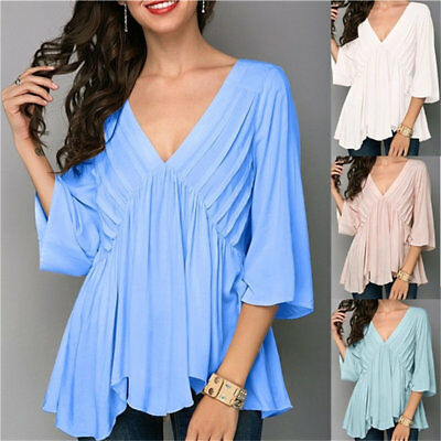 Women's Lady Bell Sleeve Blouse V Neck Loose Chiffon T Shirt Blouse Casual Tops