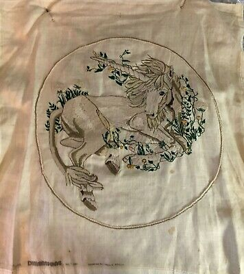 Large Vintage 1980's Finished Crewel Unicorn for Pillow or Picture