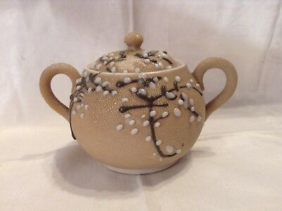 Vintage Pottery Sugar Bowl With Applied White & Brown Glass Pussywillows