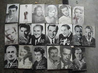 LOT OF 19 Vintage 1930s to 60s Hollywood Movie Star Singers Arcade Exhibit  Cards