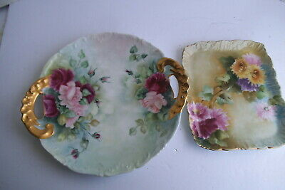 Antique LIMOGES T & V Open Handled SNACK PLATE Roses and TRAY