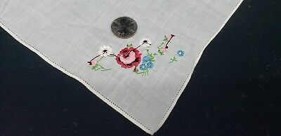 Antique / Vintage Handkerchief Petit Point Embroidered Flowers Floral