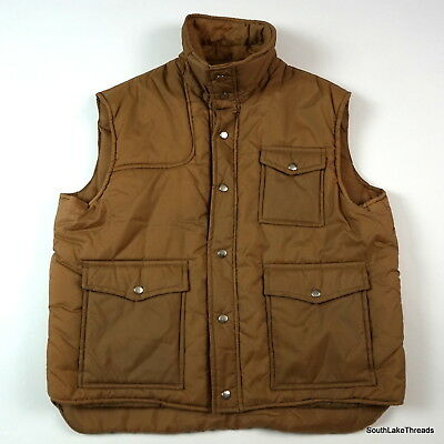 Vintage 70s Men's Dickies Insulated Puffer Vest Tan Snap Button Up Size XL