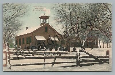 Public School PUT-IN-BAY Ohio—Rare Antique HAND COLORED Postcard Herbster 1910s