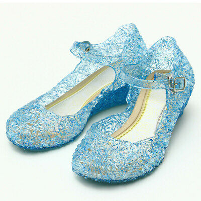 AU Girl's Princess Fancy Dress Cosplay Sandals Frozen Ankle Strap Jelly Shoes