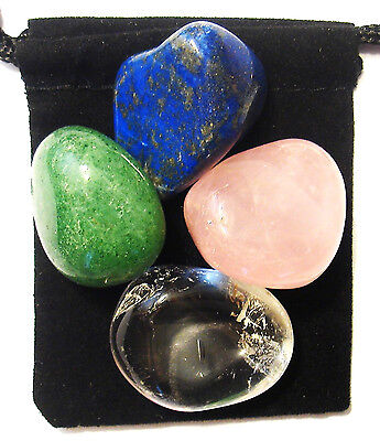 VERTIGO RELIEF Tumbled Crystal Healing Set =4 Stones +Pouch+Description Card
