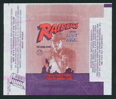 Raiders of the Lost Ark Scanlens 1981 Bubble Gum Card Wrapper