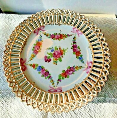 """Antique Carl Thieme Dresden Gold Trimmed Reticulated Floral Plate 7-1/4"""""""