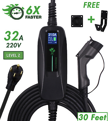 32 Amp Level 2 EV Electric Car Charger NEMA 14-50 J1772 FAST Delayed Charging