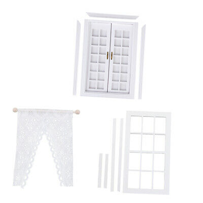 1/12 Dolls House Miniature Wooden French Door Window & Lace Curtain White