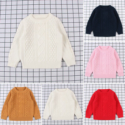 Baby Kids Girls Boys Winter Knitted Sweater Jumper Pullover Crew Neck Knitwear #