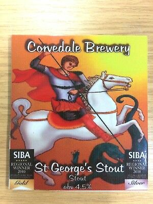 St George (White Horse & Dragon) Beer Pump Clip: Corvedale Brewery SIBA Winner