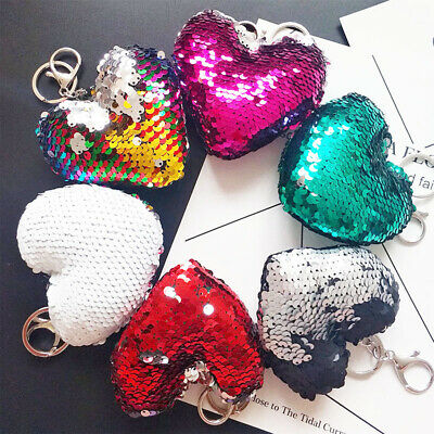 Heart Keychain Glitter Sequins Key Chain Kids Gifts Car Bag Accessories Key Ring