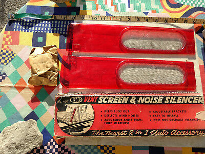 Hemco wind silencers very rare scarlet color with mesh section NOS MIB vtg 1950s