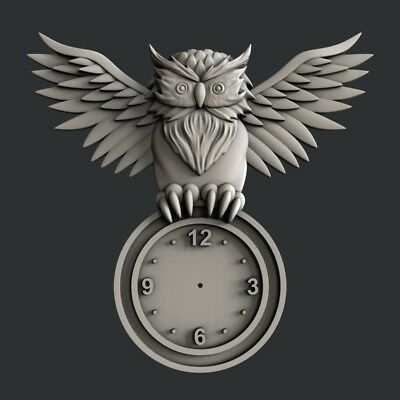 3d STL models for CNC, Artcam, Aspire, relief clock owl