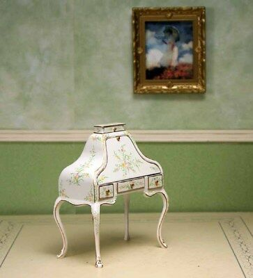 """White Writing Desk MUSEUM QUALITY DOLLHOUSE FURNITURE 1/12 or 1"""" Scale BESPAQ"""