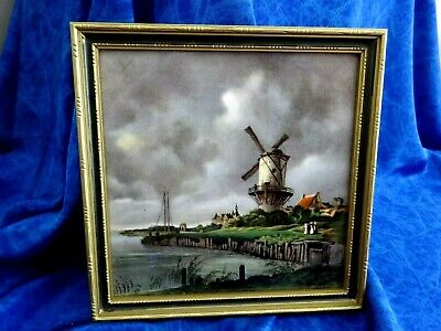 "VINTAGE FRAMED TILE PICTURE "" THE MILL "" by JACOB van RUYSDAEL  (WALL HANGING)"