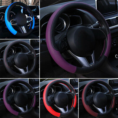 Luxury Auto Car Steering Wheel Cover Carbon Pattern With PU Leather Car Cover