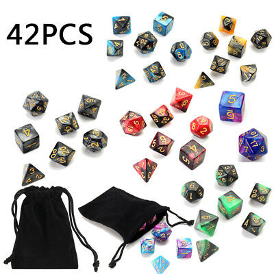 42pcs/Set 4/6/8/10/12/20 Polyhedral Dice Double-Color For DND RPG MTG Game