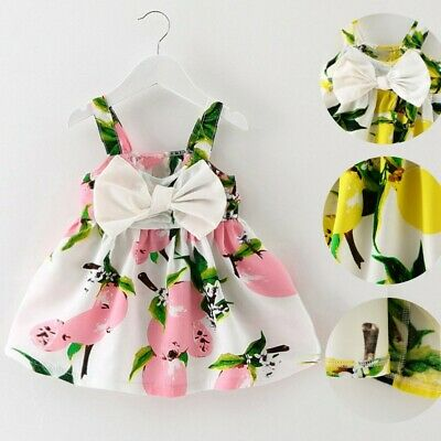 Cute Toddler Baby Girls Lemon Bow Infant Outfit Sleeveless Princess Floral Dress
