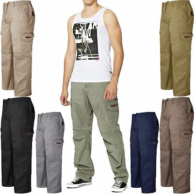 Mens Elasticated Cargo Combat Work Cotton lightweight Trousers Pants Bottoms New