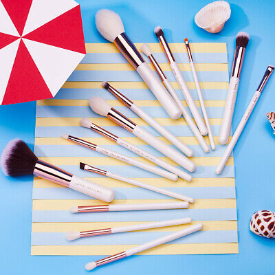 UK Pro Make Up Brushes Eyes Powder Brow Eyeshadow Eyeliner Jessup Rose Gold 15Pc