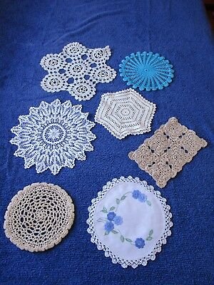 Selection Of 7 X Small Doilies – Coloured, Embroidered & Crocheted