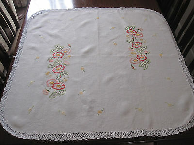 Pretty Vintage Hand Embroidered Pure Cream  Linen Tablecloth In Citrus Tones