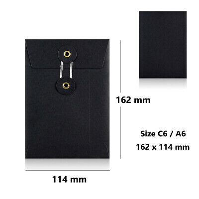 100 Black - W/O Gusset - String & Washer C6 Size Bottom & Tie Envelopes