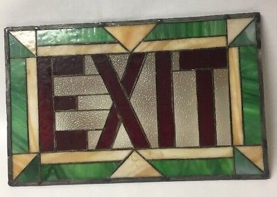 Vintage Art Deco Theater Stained Leaded Slag Glass Exit Sign Geometric Motif
