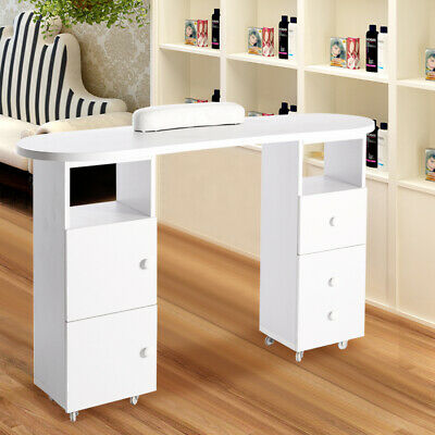 White Salon Beauty Manicure Table Stand Nail Art Desk Work Station with 2 Drawer