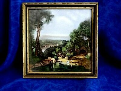 "VINTAGE FRAMED TILE PICTURE "" CROSSING THE BROOK "" by  TURNER ( WALL HANGING)"