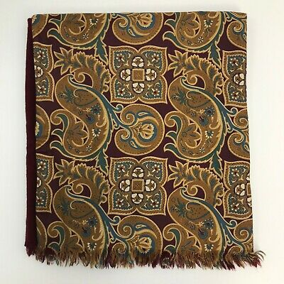 HARRODS Red Brown All Silk Wool Paisley Print Occasion Suit Scarf Mens 471360